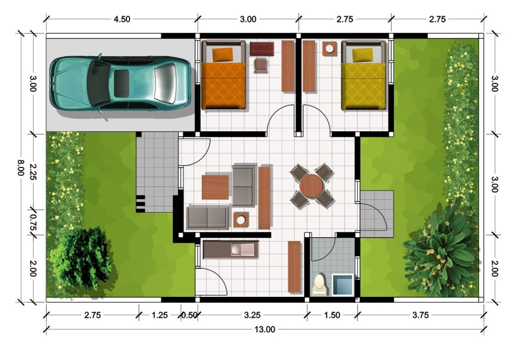 Contoh Denah Rumah Minimalis Type 54  14 desain rumah minimalis type 45 terbaru rumah impian