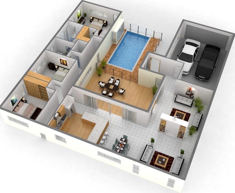 13 denah 3d apartemen minimalis 2 lantai 3 kamar rumah for Design interior apartemen 1 bedroom