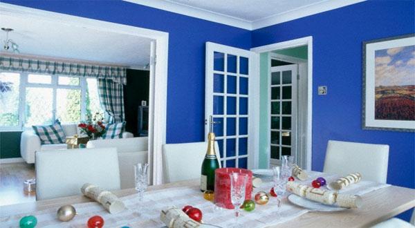 Contoh Dekorasi Ruang Tamu Warna Biru