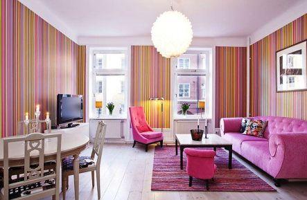 Contoh Ruang Tamu Warna Pink