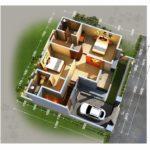13 Denah 3D Apartemen Minimalis 2 Lantai 3 Kamar