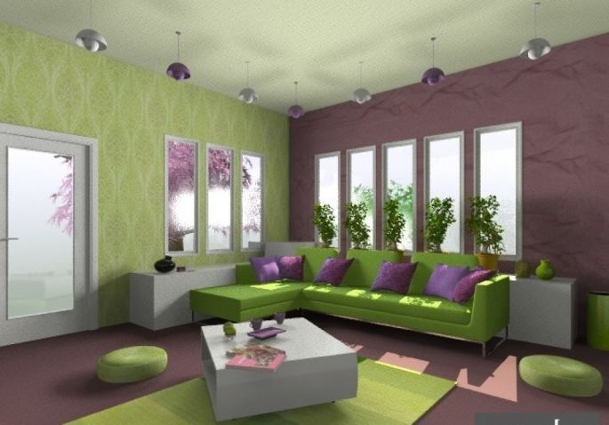 Kombinasi Warna Cat Rumah Hijau Tua  23 kombinasi warna cat ungu ruang tamu lebih indah