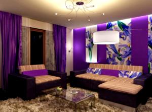 23 kombinasi warna cat ungu ruang tamu lebih indah