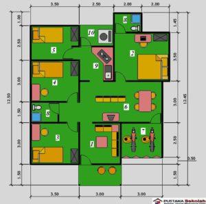 Denah Rumah Minimalis Type 45 Satu Lantai 3 Kamar