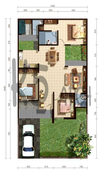denah rumah type 100 3 kamar tidur