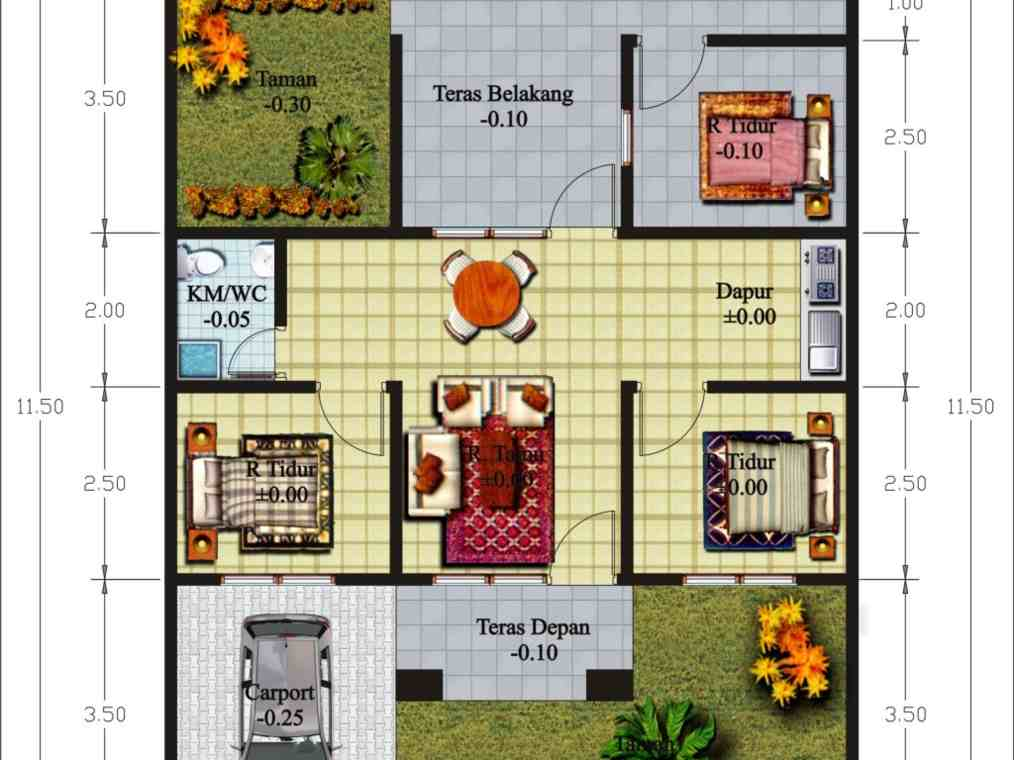 Desain Rumah Minimalis Modern Luas 100 Meter  100 denah rumah minimalis type 45 satu lantai 3 kamar