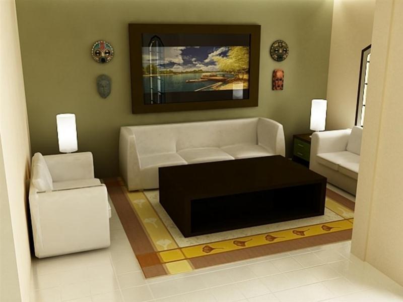 interior ruang tamu rumah minimalis Medium